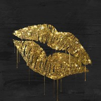 Golden Lips Framed Print