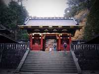 Red Gates And Temple Fine Art Print