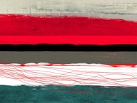 Abstract Stripe Theme Red Grey and White Framed Print