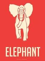 Elephant White Framed Print