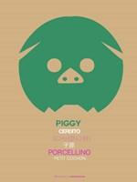 Green Piggy Multilingual Fine Art Print