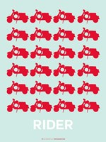 Vespa Rider Red Fine Art Print