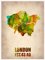 London Watercolor Map 1 Fine Art Print