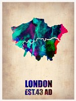 London Watercolor Map 2 Fine Art Print