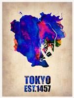 Tokyo Watercolor Map 1 Fine Art Print