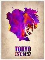 Tokyo Watercolor Map 2 Fine Art Print