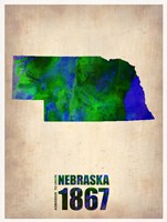 Nebraska Watercolor Map Fine Art Print