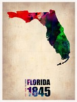 Florida Watercolor Map Fine Art Print