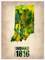 Indiana Watercolor Map Framed Print