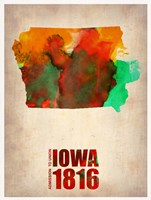 Iowa Watercolor Map Fine Art Print