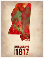 Mississippi Watercolor Map Fine Art Print