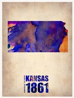 Kansas Watercolor Map Fine Art Print