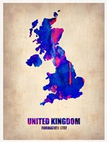 United Kingdom Watercolor Map Fine Art Print