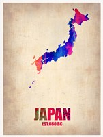 Japan Watercolor Map Fine Art Print