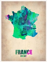 France Watercolor Map Fine Art Print