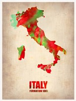 Italy Watercolor Map Fine Art Print
