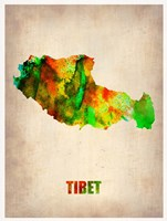 Tibet Watercolor Map Fine Art Print