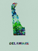 Delaware Color Splatter Map Fine Art Print