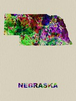 Nebraska Color Splatter Map Fine Art Print