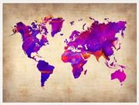 World Watercolor Map 5 Fine Art Print