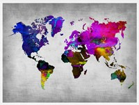 World Watercolor Map 13 Fine Art Print