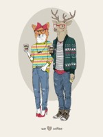Fox Girl And Deer Boy Hipsters Fine Art Print