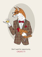 Fox Man In Pin Suit Fine Art Print