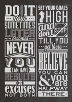 Motivational Set Black Fine Art Print