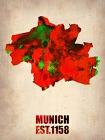 Munich Watercolor Map Fine Art Print