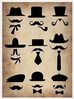 Hats Glasses and Mustaches Fine Art Print