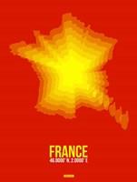 France Radiant Map 1 Fine Art Print