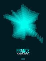 France Radiant Map 2 Fine Art Print