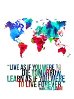 World Map Quote Mahatma Gandi Fine Art Print