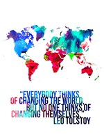 World Map Quote Leo Tolstoy Fine Art Print
