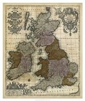 Map of England, Scotland & Ireland Fine Art Print