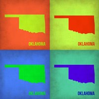 Oklahoma Pop Art Map 1 Fine Art Print