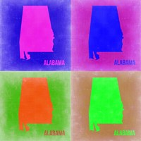 Alabama Pop Art Map 2 Fine Art Print