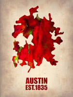 Austin Watercolor Map Fine Art Print