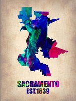 Sacramento Watercolor Map Fine Art Print