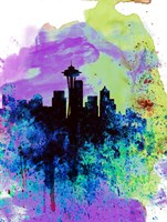 Seattle Watercolor Skyline 1 Fine Art Print