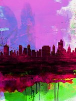 Tulsa Watercolor Skyline 2 Fine Art Print