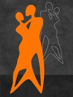 Orange Couple Dancing Fine Art Print
