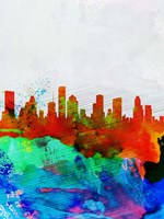 Houston Watercolor Skyline Fine Art Print
