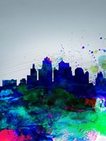 Kansas City Watercolor Skyline Fine Art Print