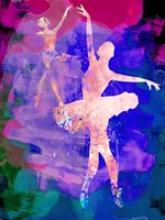 Two Dancing Ballerinas Watercolor 1 Fine Art Print