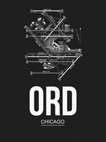 ORD Chicago Airport Black Fine Art Print
