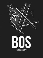 BOS Boston Airport Black Fine Art Print