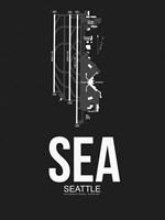SEA Seattle Airport Black Fine Art Print