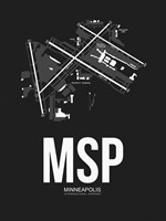 MSP Minneapolis Airport Black Fine Art Print