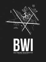 BWI Baltimore Airport Black Fine Art Print